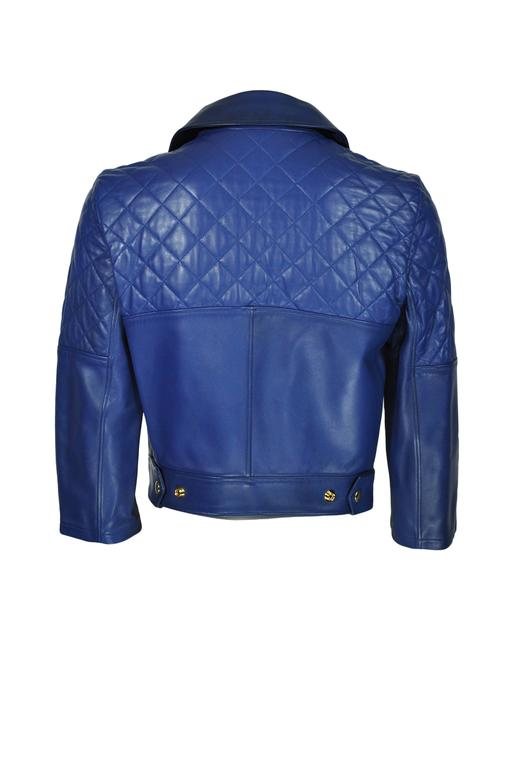 Yves Saint Laurent Blue Quilted Leather Biker Jacket FR36 New 4