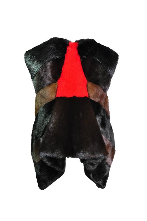 Black Givenchy by Riccardo Tisci Asymmetric Multi-color dyed Mink Vest For Sale