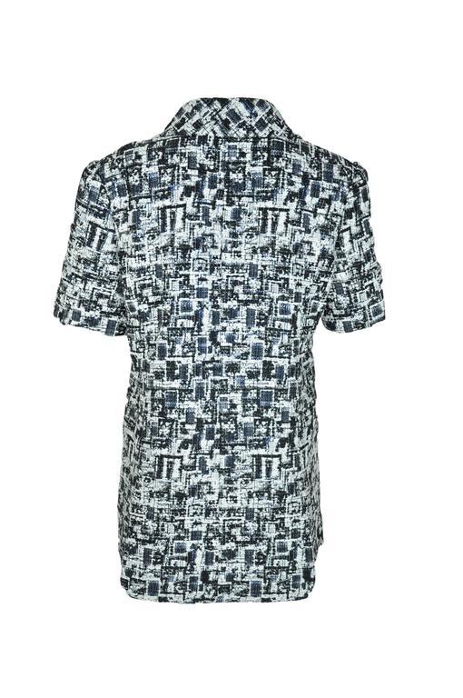 Chanel 2015 S/S Black/Ecru Fantasy Tweed Short Sleeves Jacket FR40  3