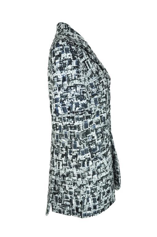 Chanel 2015 S/S Black/Ecru Fantasy Tweed Short Sleeves Jacket FR40  4