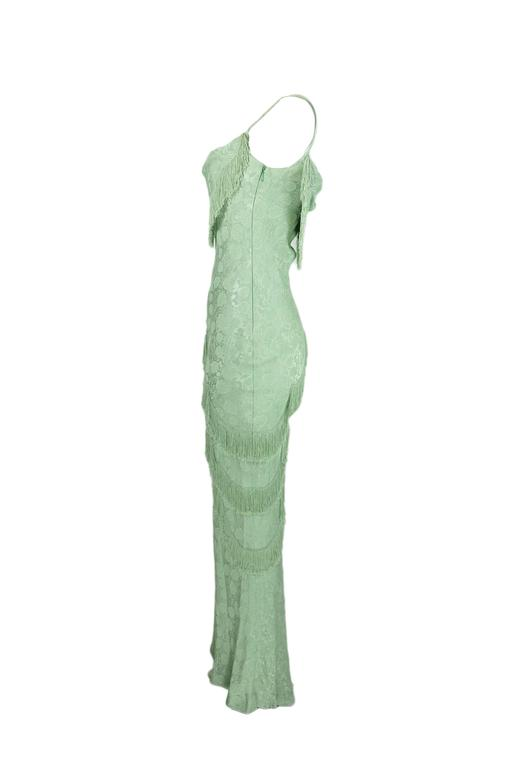 Christian Dior by John Galliano 90'S Teal Fringe Bias Cut Evening Gown 2