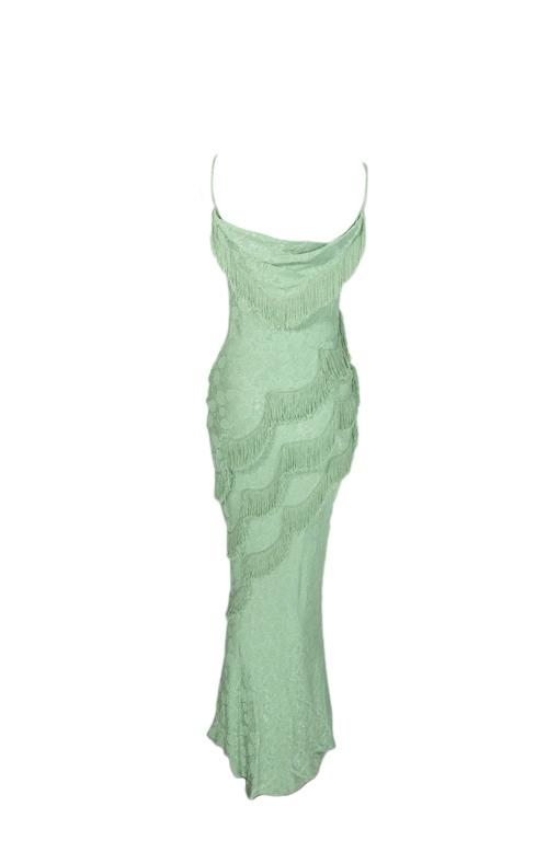 Christian Dior by John Galliano 90'S Teal Fringe Bias Cut Evening Gown 3