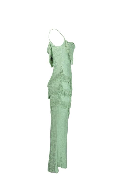 Christian Dior by John Galliano 90'S Teal Fringe Bias Cut Evening Gown 4