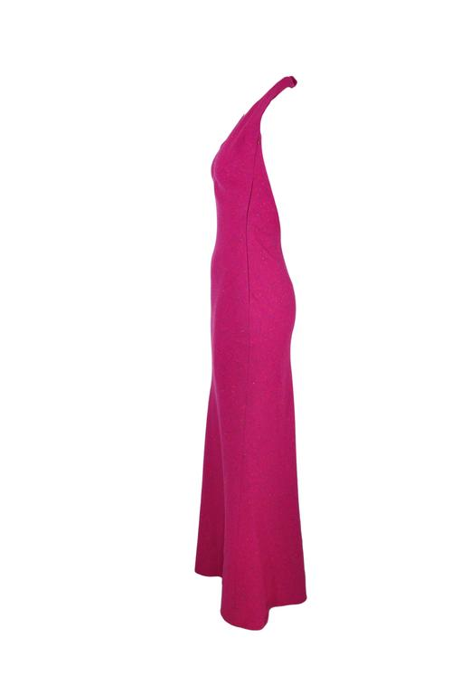 Christian Dior Halter Low Back Fuchsia Tweed Maxi Dress 2