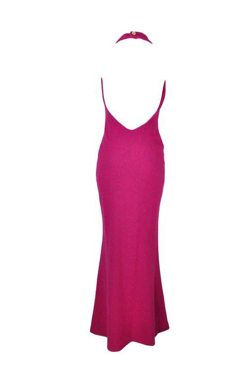 Christian Dior Halter Low Back Fuchsia Tweed Maxi Dress 3