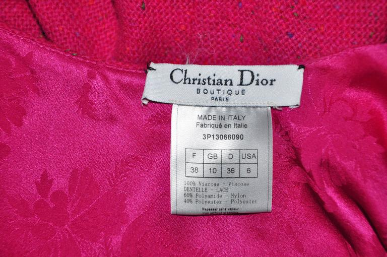 Christian Dior Halter Low Back Fuchsia Tweed Maxi Dress 5