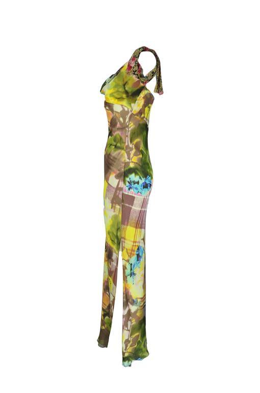 Christian Dior Multi-color Floral Printed Bias-cut Silk Maxi Dress 2