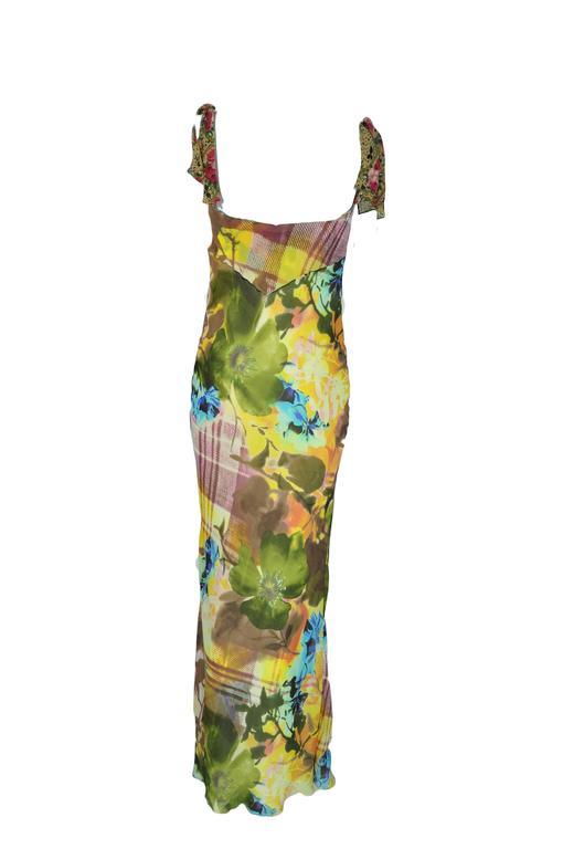 Christian Dior Multi-color Floral Printed Bias-cut Silk Maxi Dress 3