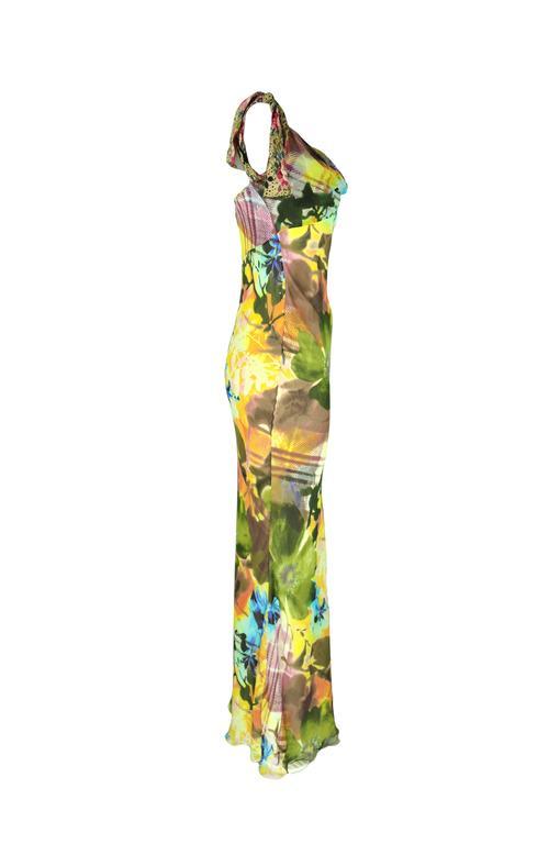 Christian Dior Multi-color Floral Printed Bias-cut Silk Maxi Dress 4