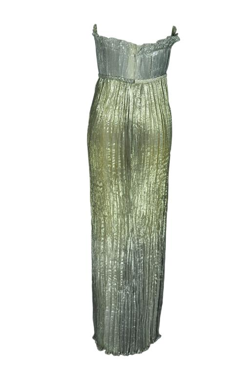 Oscar de la Renta Metallic Gold/Silver Silk Pleated Strapless Gown 3