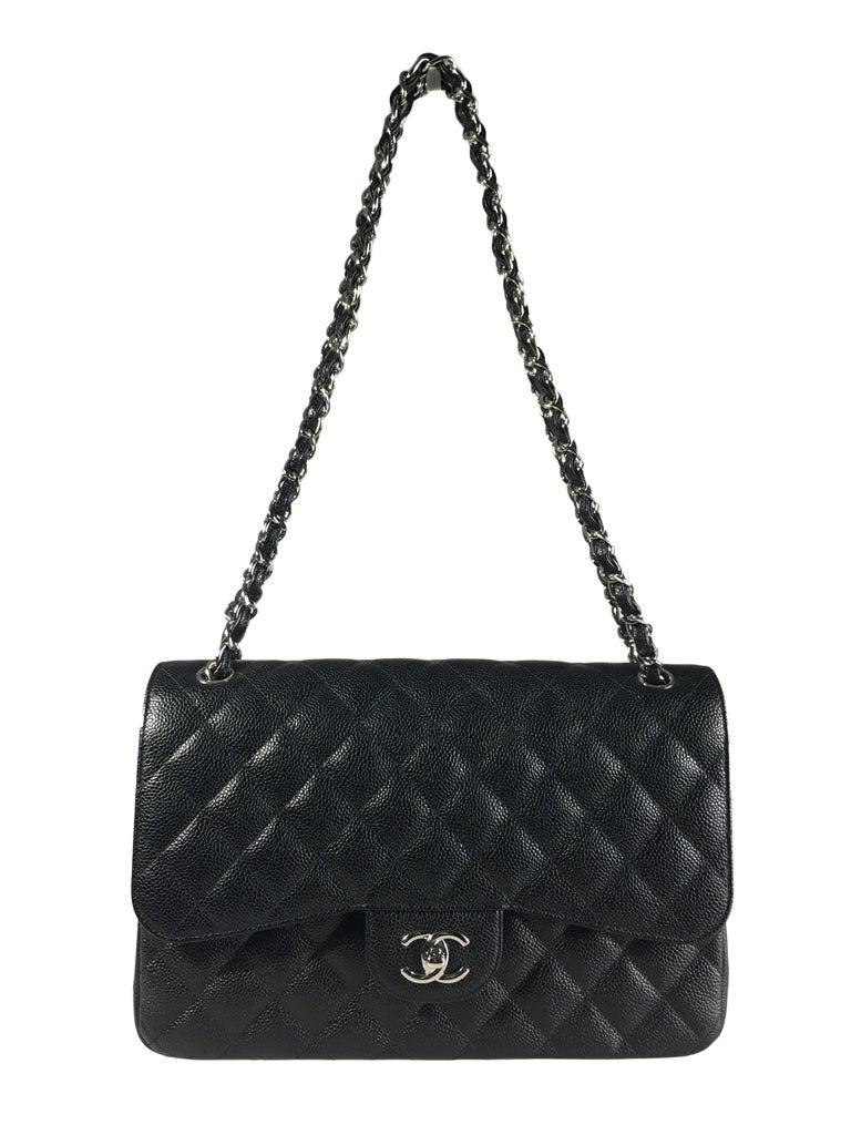 Chanel Black Caviar Leather Classic Jumbo Double Flap Bag 2