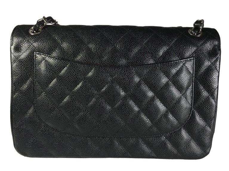 Chanel Black Caviar Leather Classic Jumbo Double Flap Bag 5