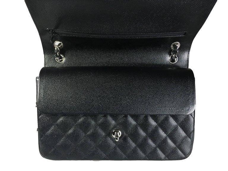 Chanel Black Caviar Leather Classic Jumbo Double Flap Bag 6