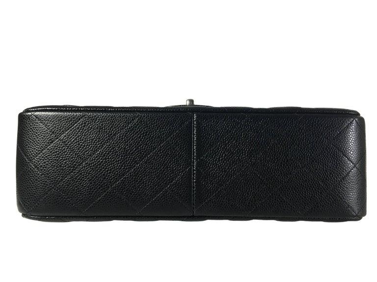 Chanel Black Caviar Leather Classic Jumbo Double Flap Bag 7