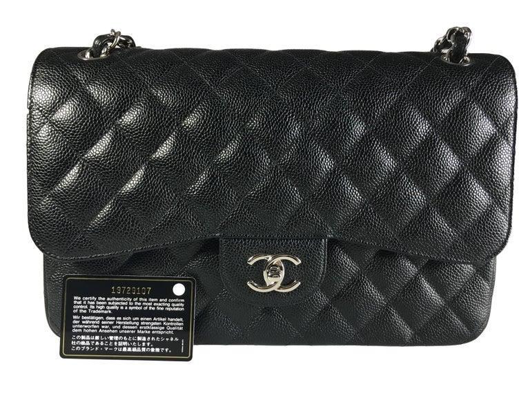 Chanel Black Caviar Leather Classic Jumbo Double Flap Bag 9