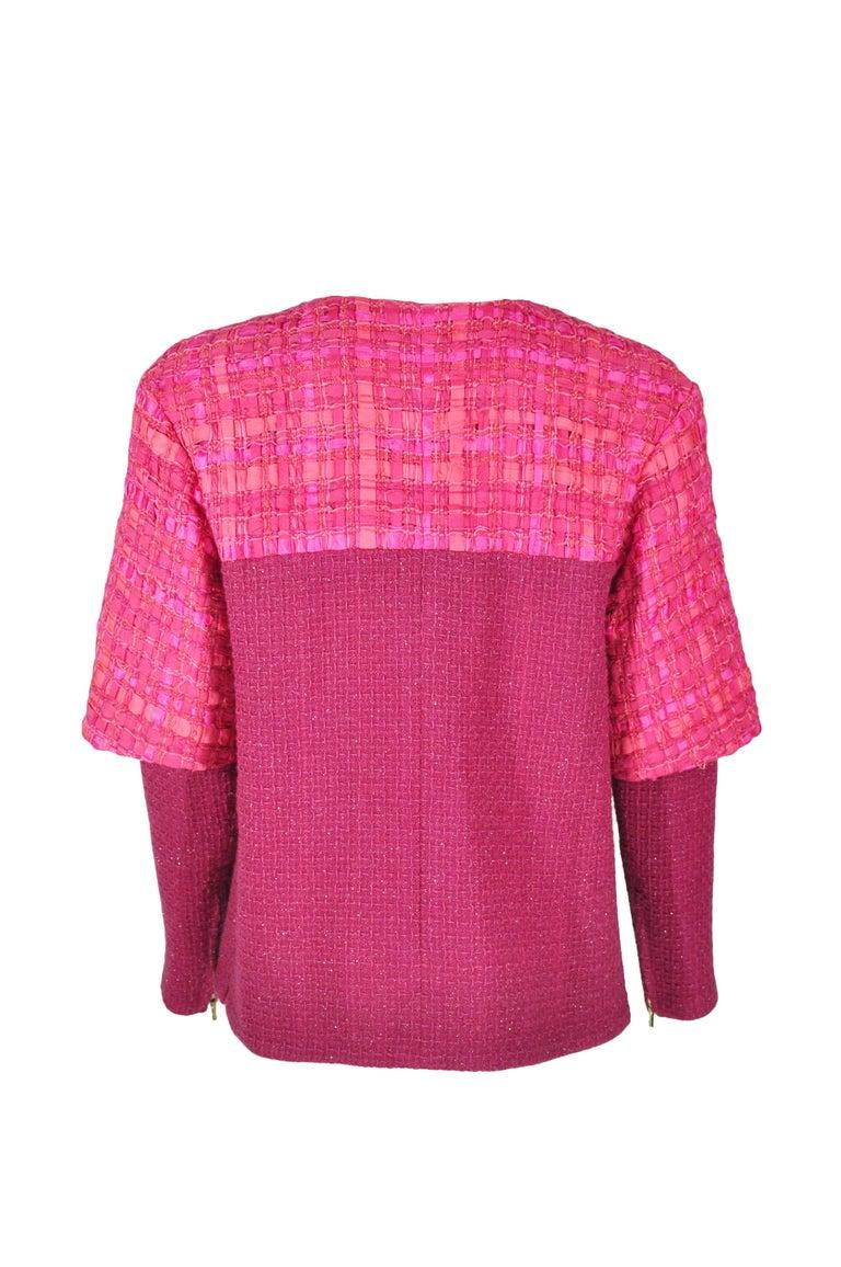 Pink Chanel 2016 F/W Runway Fuchsia Silver Fantasy Tweed Jacket FR38 New For Sale