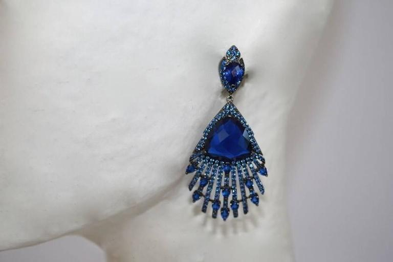 Blue Crystal and Cubic Zirconia Peacock Earrings 2