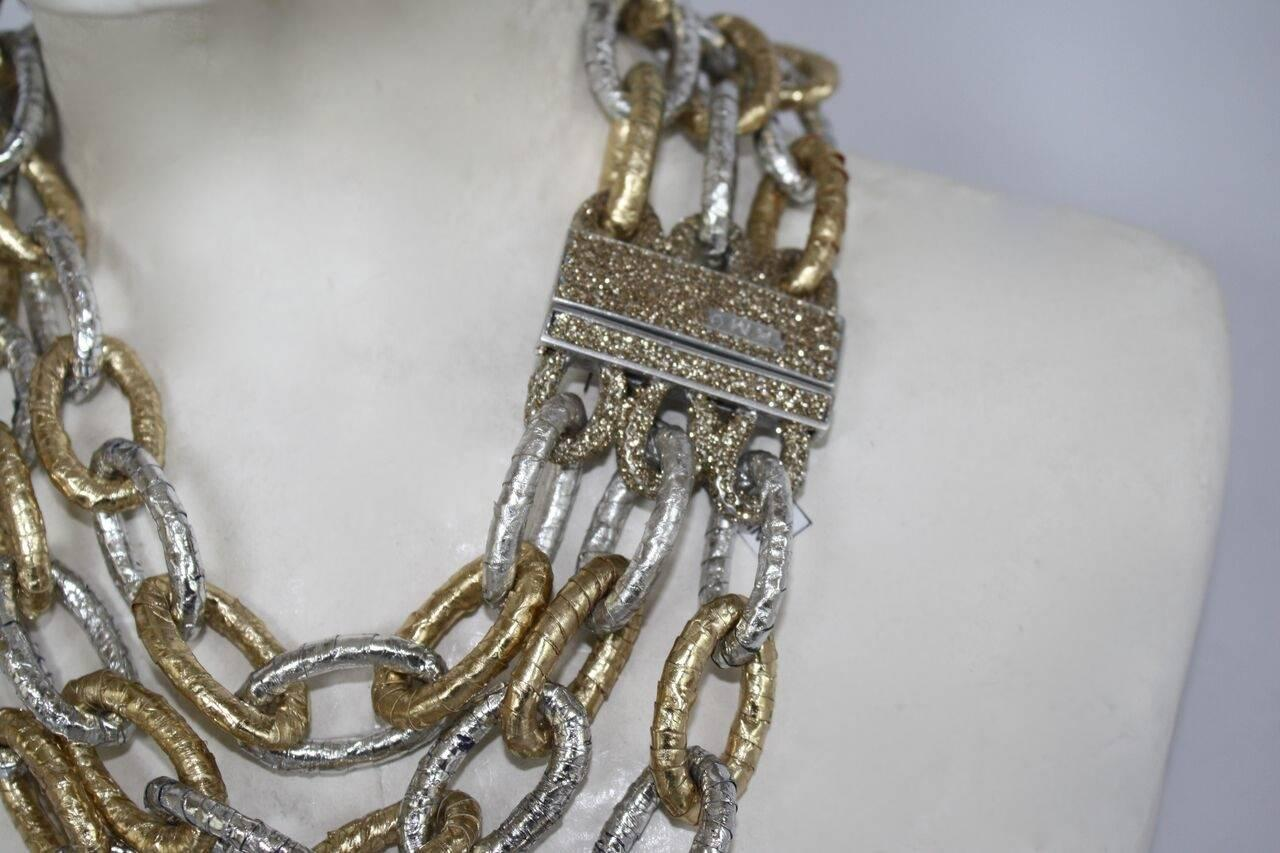 Kmo Paris Gold And Silver Leather Multi Strand Link