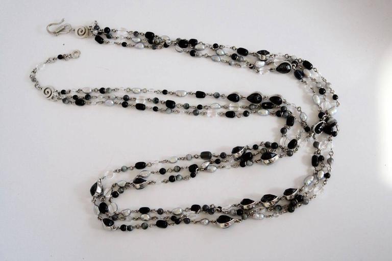 Goossens Paris Black Onyx and Palladium Necklace For Sale ...