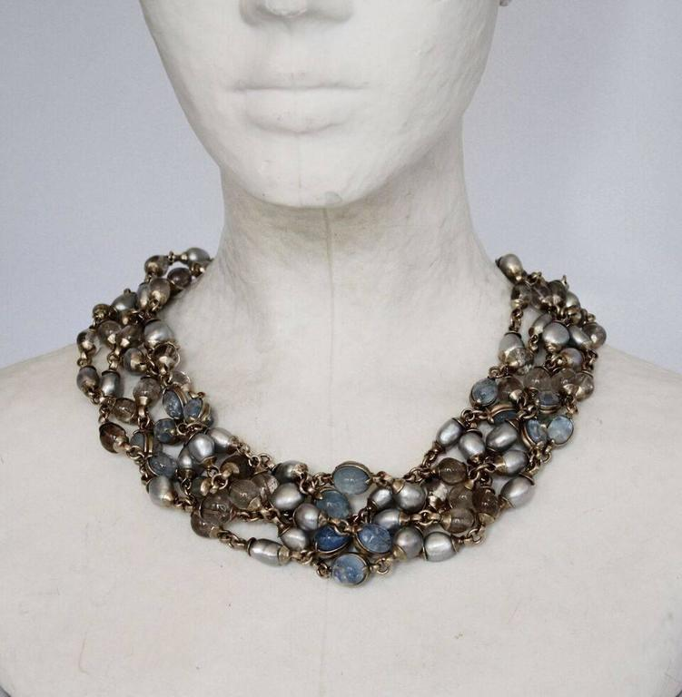 Goossens Paris Blue Pearl and Rock Crystal Crown Necklace 2