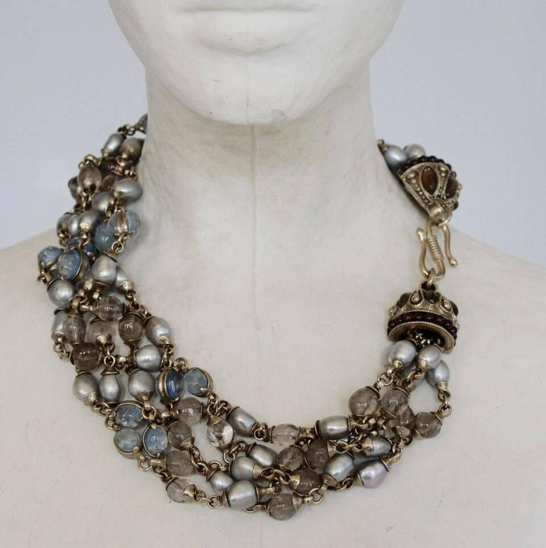 Goossens Paris Blue Pearl and Rock Crystal Crown Necklace 3