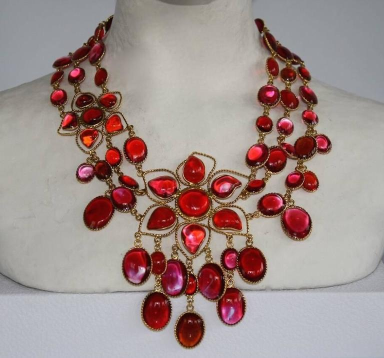 Exclusive One of a Kind French Poured Glass Double Flower Exceptional Necklace 2