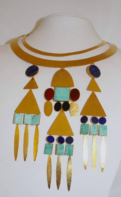Herve van der Straeten Gilded Brass Triple Drop Torque Necklace 2