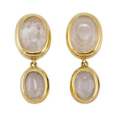 Goossens Paris Rock Crystal Double Drop Clip Earrings