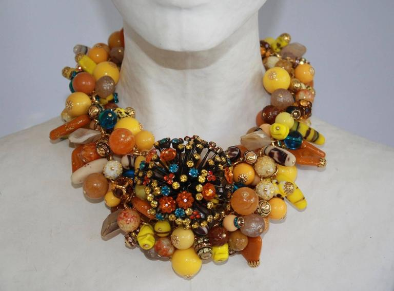 Francoise Montague Vintage Glass Bead and Swarovski Crystal Statement Necklace 2