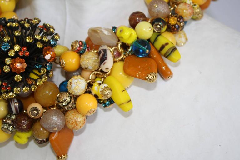 Francoise Montague Vintage Glass Bead and Swarovski Crystal Statement Necklace 4