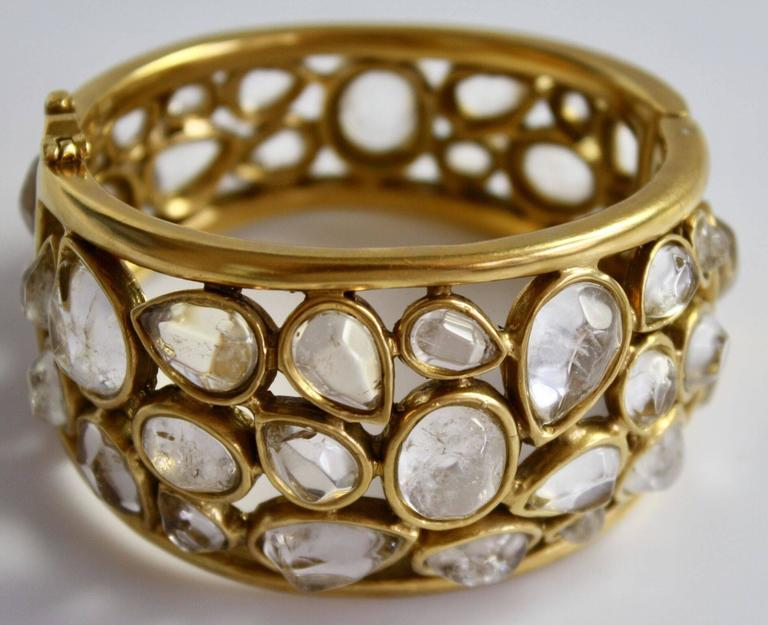 Rock crystal and gilded brass statement bracelet from Goossens Paris.   7