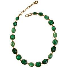 Goossens Paris Emerald Rock Crystal Necklace
