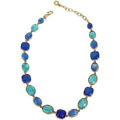 Goossens Paris Shades of Blue Rock Crystal Necklace