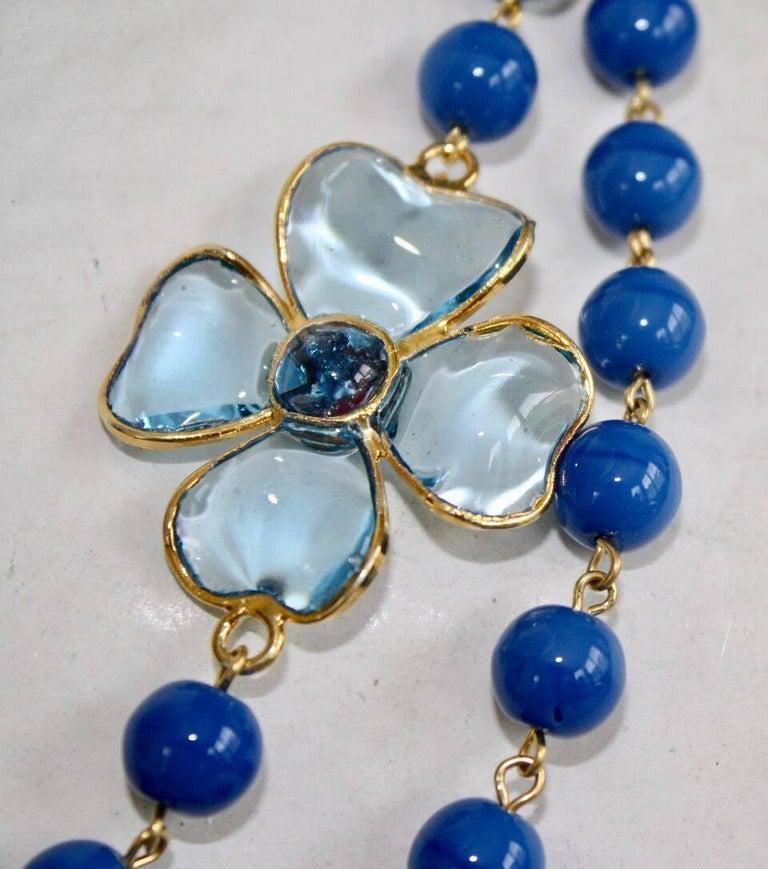 Francoise Montague Blue Pate de Verre Glass Amalfi Necklace 4