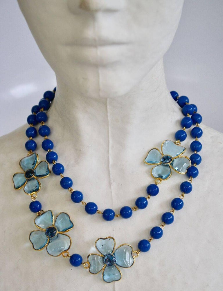 Francoise Montague hand poured pate de verre glass necklace in dreamy shades of blue. Can be worn long or doubled- as shown in images.