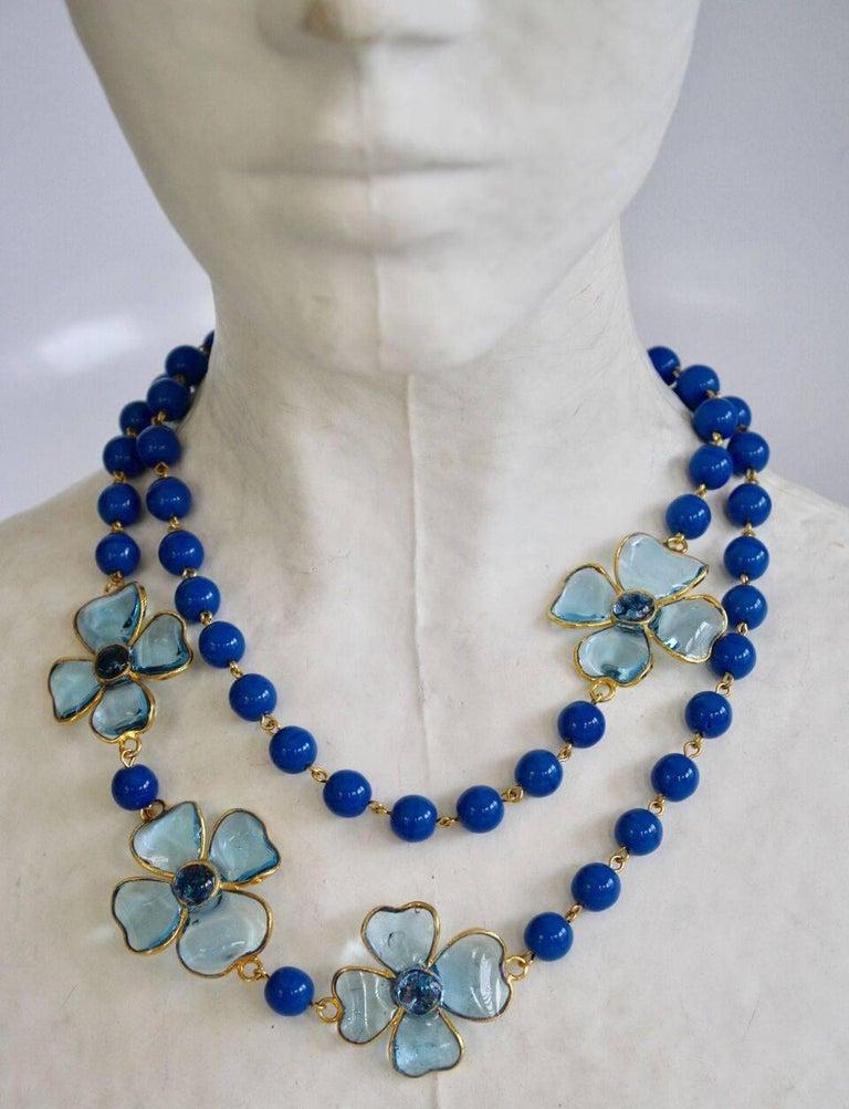 Francoise Montague Blue Pate de Verre Glass Amalfi Necklace 2