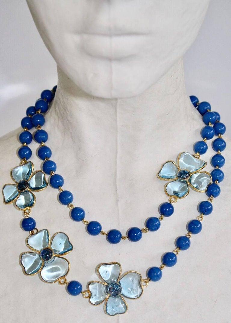 Francoise Montague Blue Pate de Verre Glass Amalfi Necklace For Sale 1