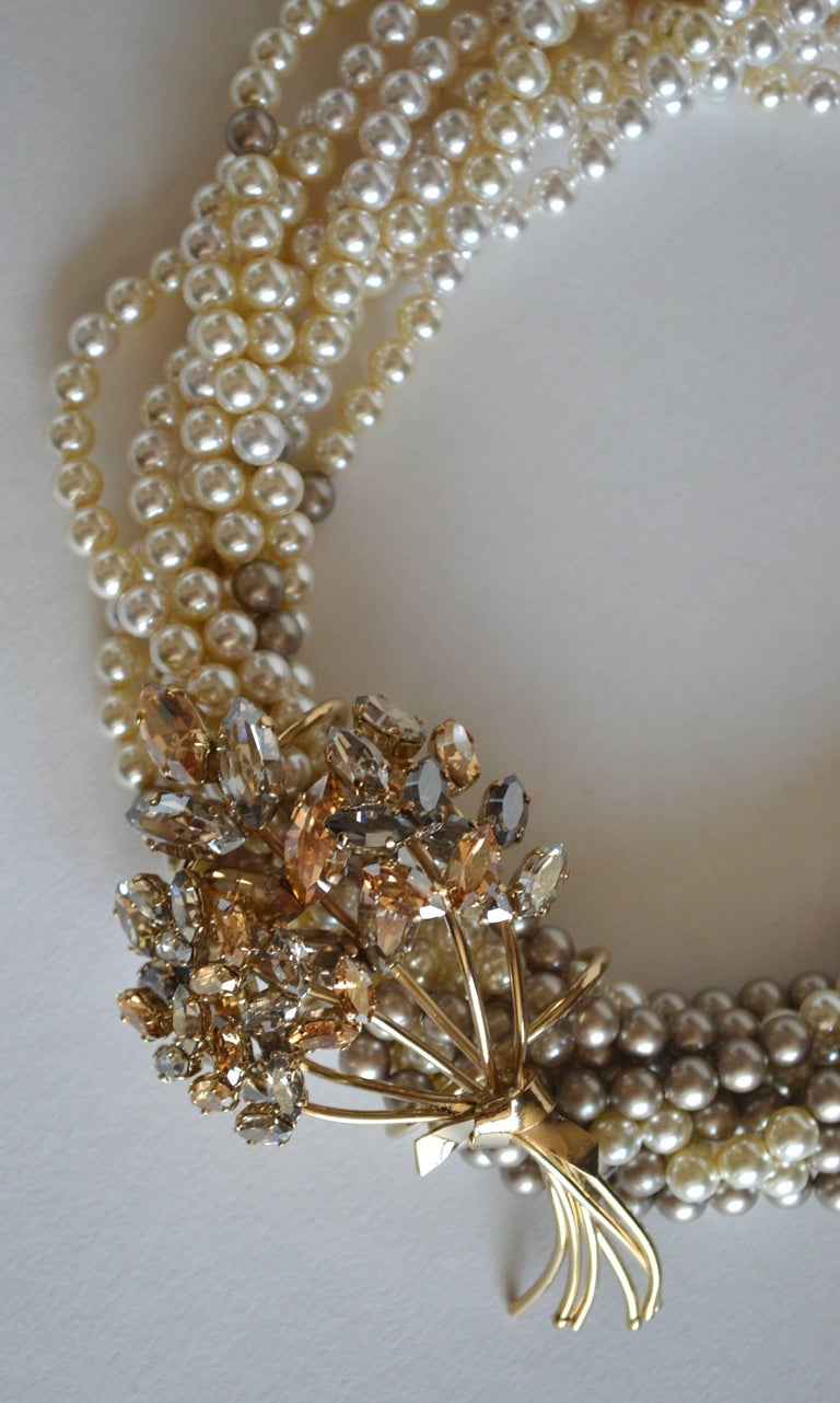 Philippe Ferrandis Two Tone Glass Pearl and Swarovski Crystal Choker In As new Condition For Sale In Virginia Beach, VA