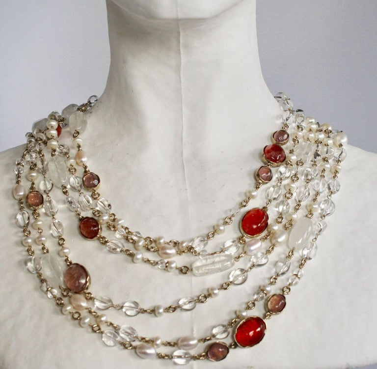Goossens Paris Pink/Salmon Long Rock Crystal and Pearl Necklace In New Condition For Sale In Virginia Beach, VA