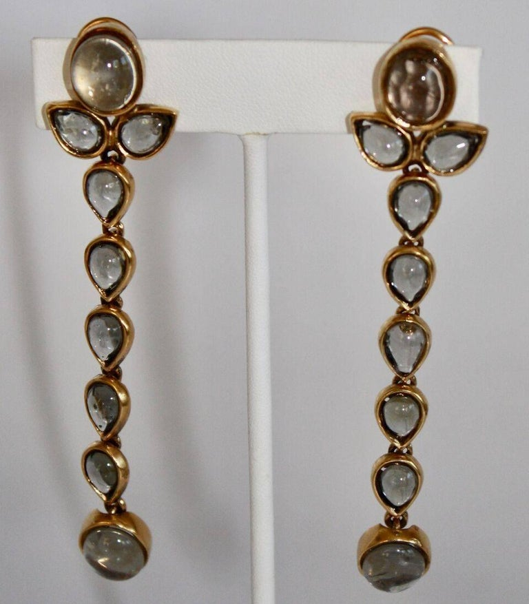 Goossens Paris Tinted Rock Crystal Cashmere Clip Earrings In New Condition For Sale In Virginia Beach, VA