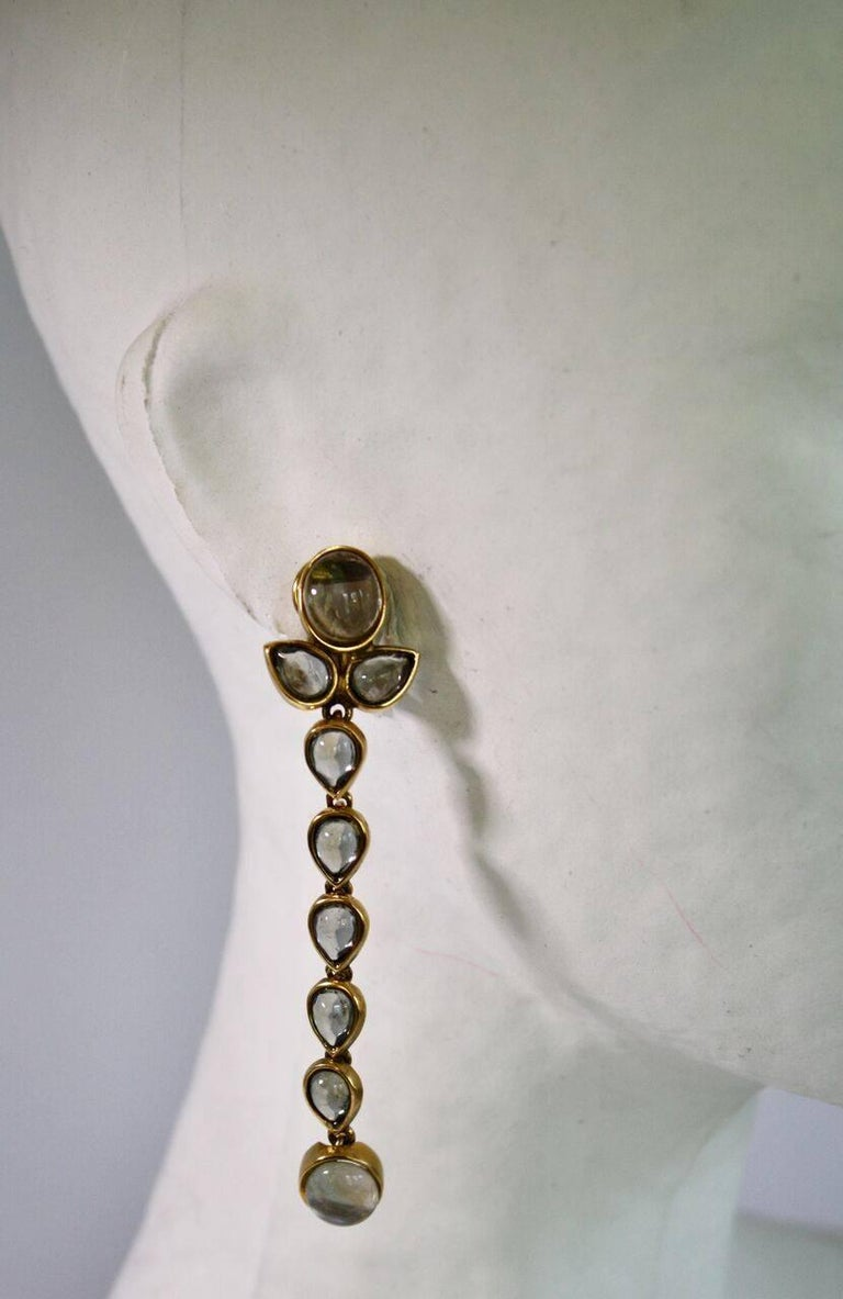 Women's Goossens Paris Tinted Rock Crystal Cashmere Clip Earrings For Sale