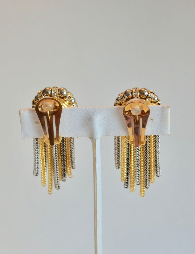 Francoise Montague Crystal and Two Tone Metal Fringe Clip Earrings  In New Condition For Sale In Virginia Beach, VA