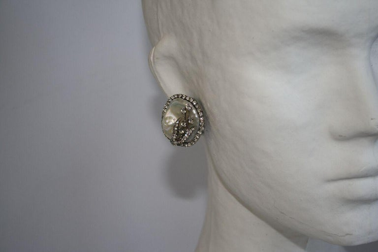 Women's Mei's Swarovski Crystal with Pearl Button Clip Earrings						 For Sale