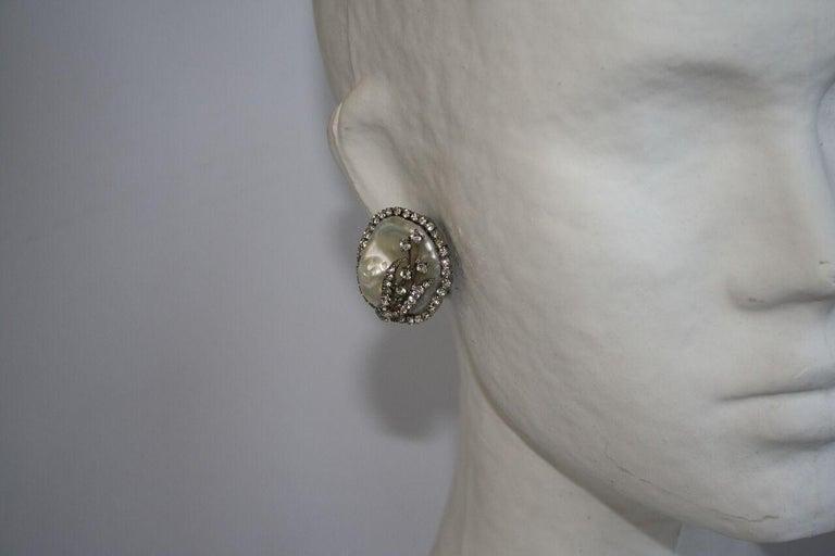 Women's Mei's Swarovski Crystal with Pearl Button Clip Earrings For Sale