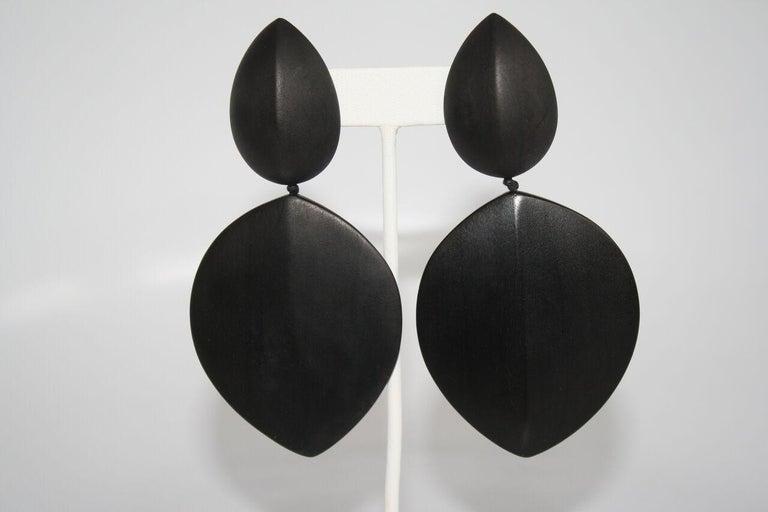 Monies Ebony Wood Statement Clip Earrings In New Condition For Sale In Virginia Beach, VA
