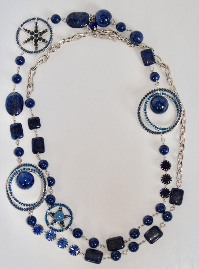 Philippe Ferrandis Blue Swarovski Crystal Long Necklace In New Condition For Sale In Virginia Beach, VA