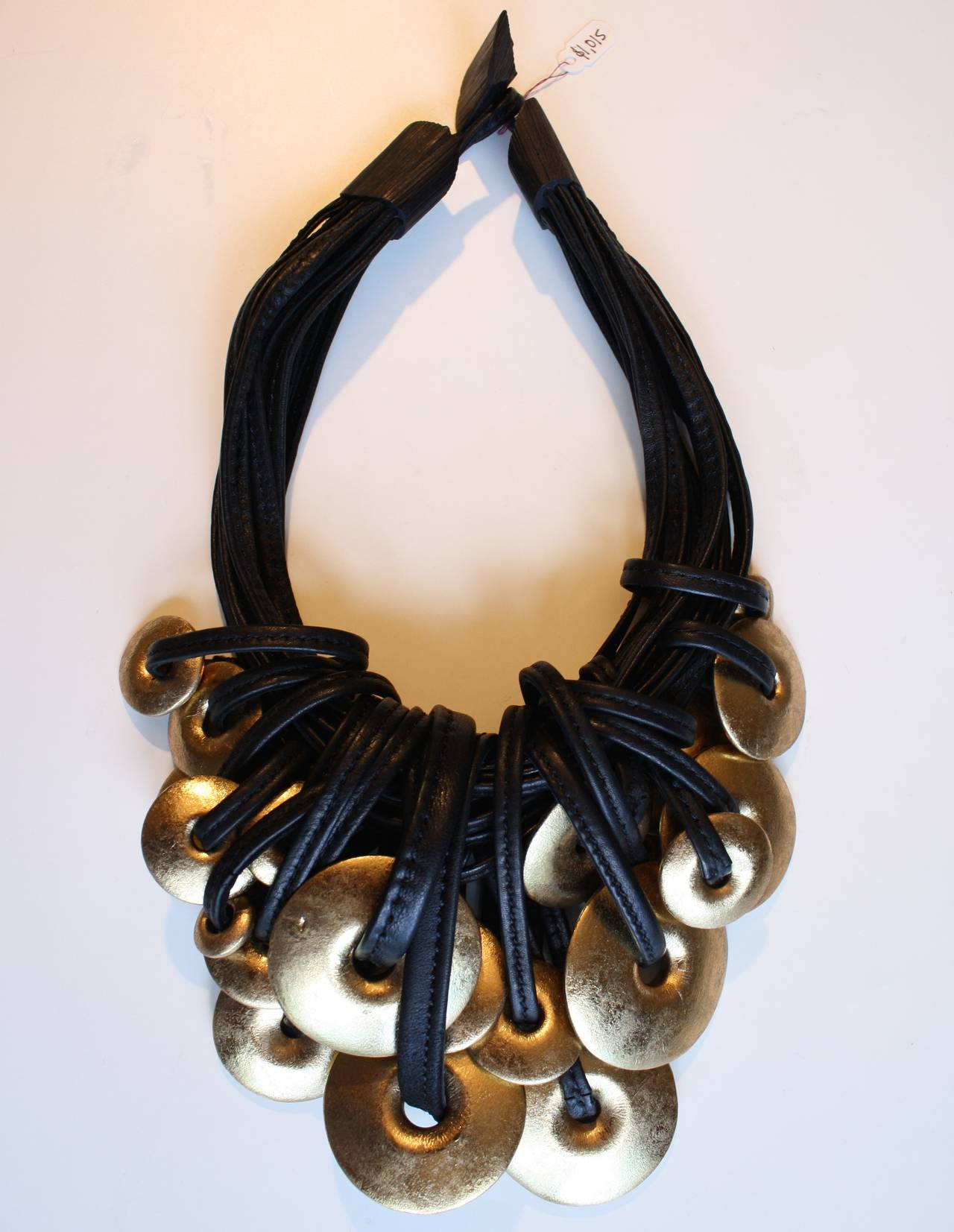 Monies Leather And Gold Foil Wood Statement Necklace At