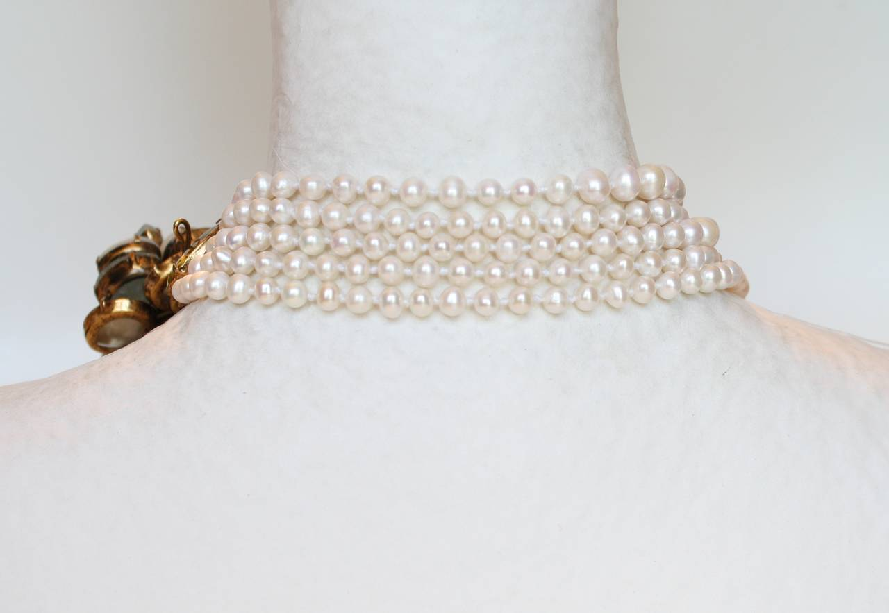 Iradj Moini Fresh Water Pearl, Aquamarine, and Citrine Necklace 3