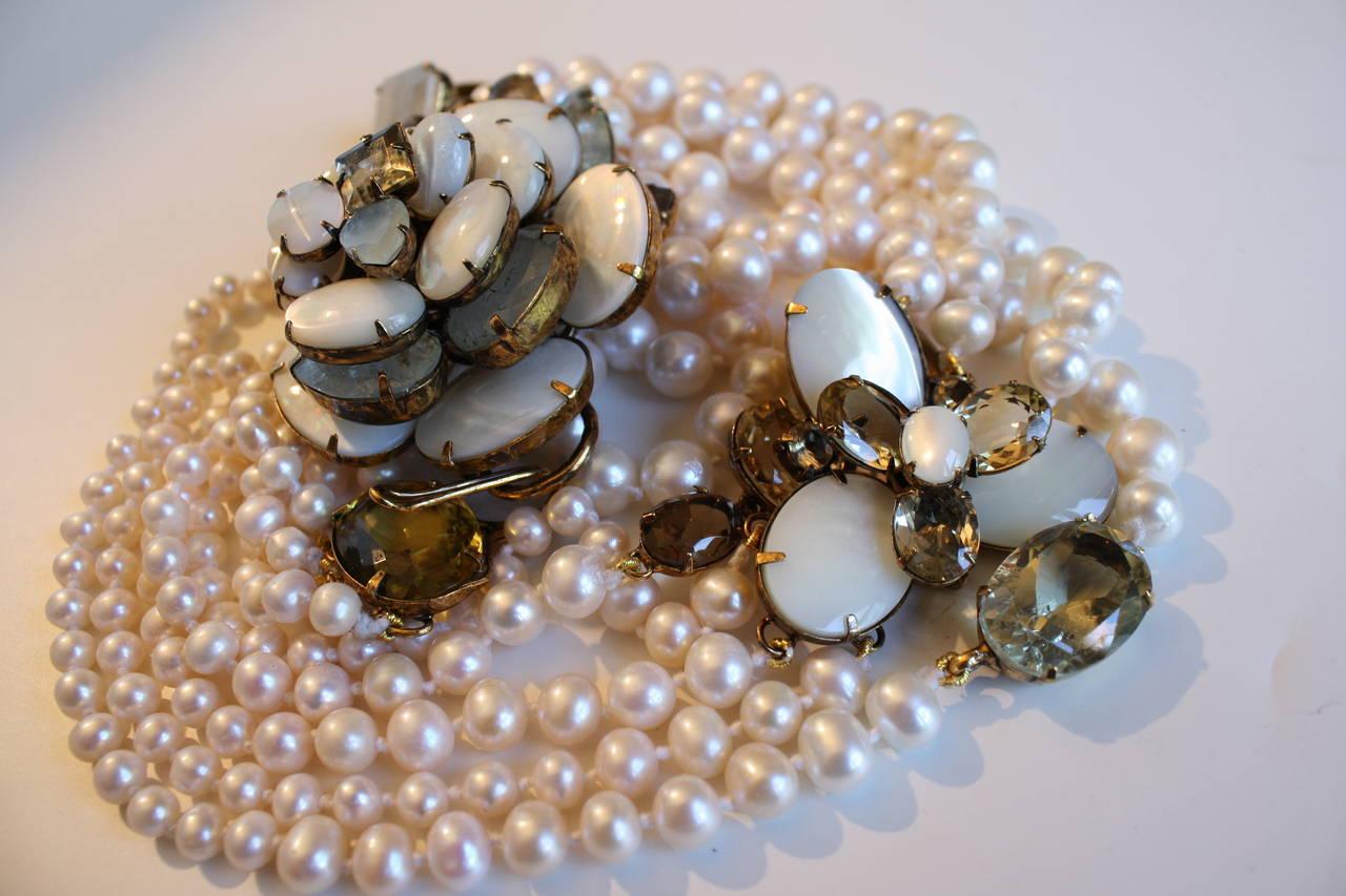 Iradj Moini Fresh Water Pearl, Aquamarine, and Citrine Necklace 4