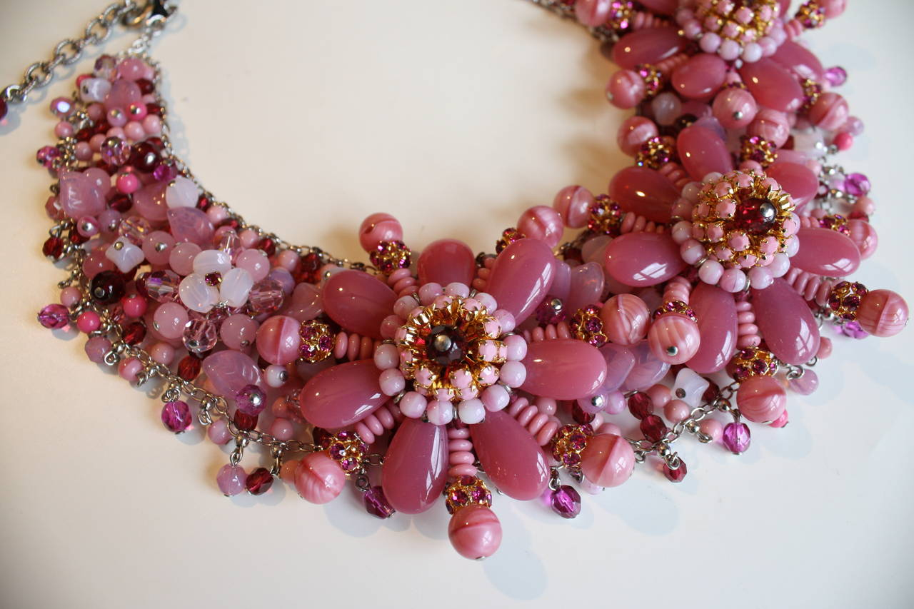 Francoise Montague Hand Beaded Floral Motif Statement Necklace 3